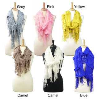 LA77 Solid Knit Fringed Scarf