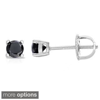 Sterling Silver 1 to 3ct TDW Black Diamond Stud Earrings
