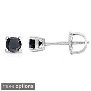 Finesque Sterling Silver 1 to 3ct TDW Black Diamond Stud Earrings