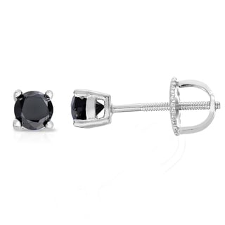 Finesque Sterling Silver Black Diamond Stud Earrings