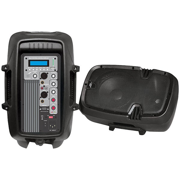 "Pyle 10"" 600 Watt Powered Two-Way PA Speaker with MP3/USB/SD Playback"