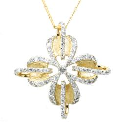 Beverly Hills Charm 14k Yellow Gold 1ct TDW Diamond Flower Necklace