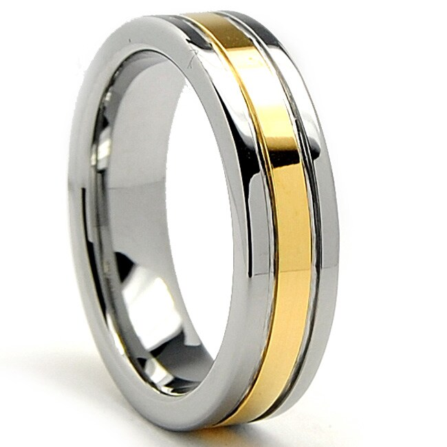 Tungsten Carbide Men's Goldplated Ring (6 mm)