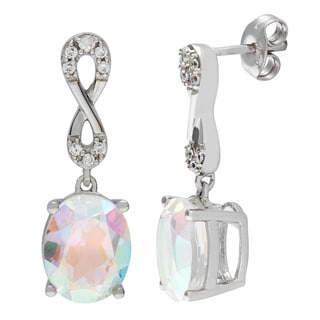 D'sire Sterling Silver Mercury Mystic Topaz and Cubic Zirconia Earrings