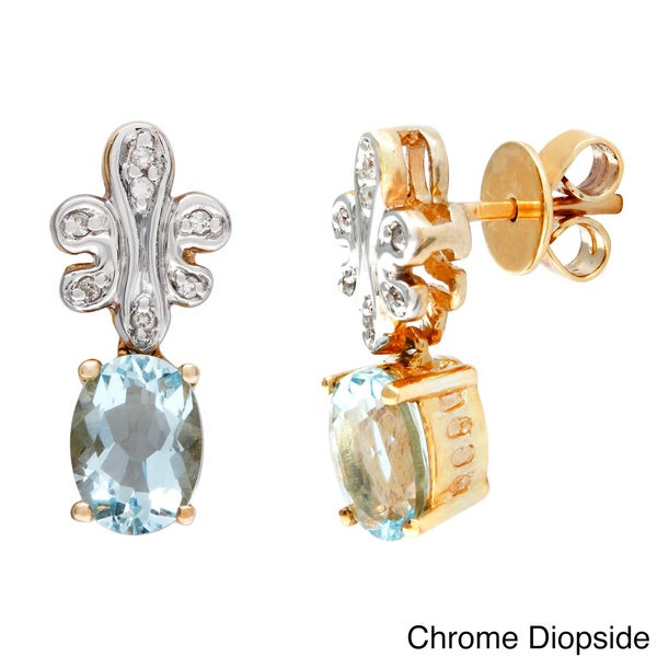 D'sire 10k Yellow Gold Chrome Diopside and Diamond Accent Earrings