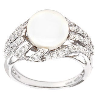 D'sire 18k White Gold FW Pearl and 3/5ct TDW Diamond Ring (H-I, VS1-VS2)