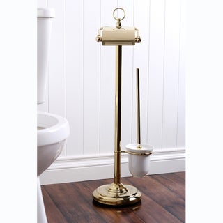 Polished Brass Toilet Paper and Brush Holder Pedesal