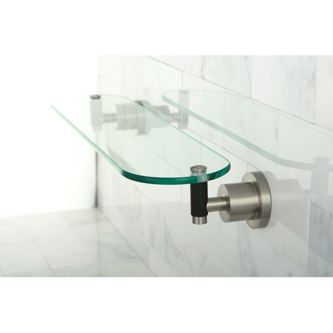 Satin Nickel Bathroom Glass Shelf