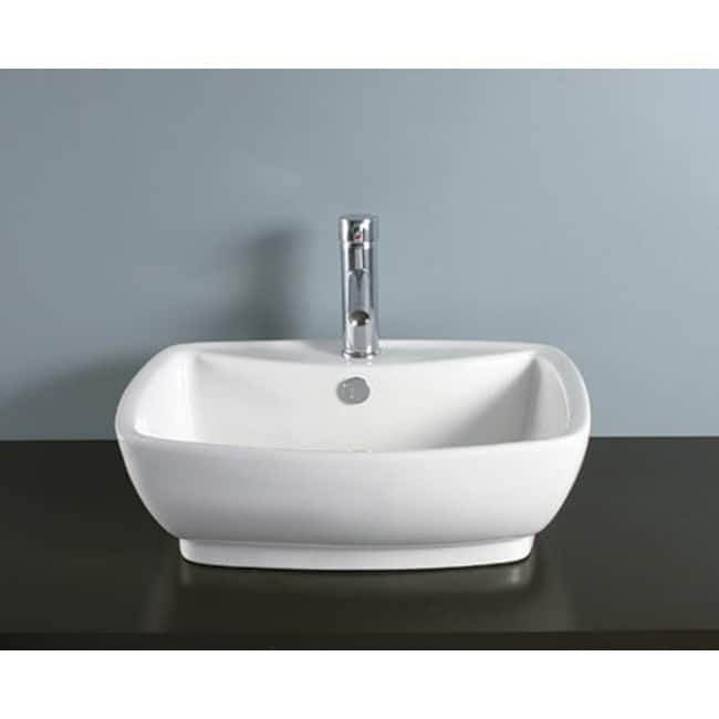 Rectangular Vitreous China Vessel Bathroom Sink