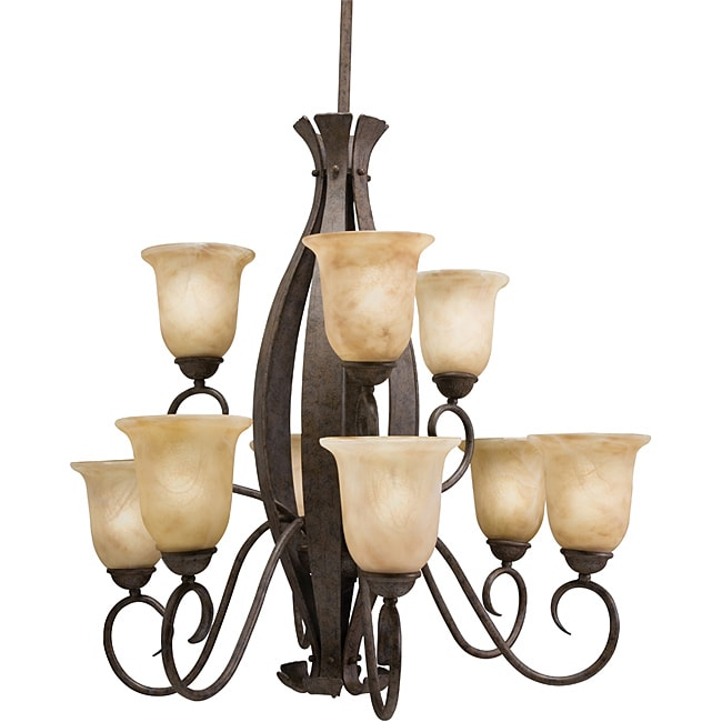 Aztec Lighting Transitional 9-light Aged Iron Chandelier