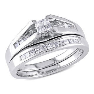 Miadora 1/2 CT Princess Diamond TW Bridal Set Ring 10k White Gold GH I2;I3