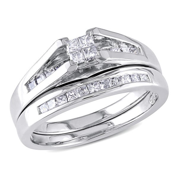 Miadora 10k White Gold 1/2 CT TW Princess-cut Quad Diamond Engagement Wedding Bridal Set Ring (G-H, I2-I3)