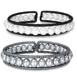 Miadora Freshwater Pearl and Leather Cuff Bracelet (7-7.5 mm)