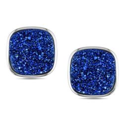 Highly Polished Sterling Silver Blue Cushion-cut Druzy Stud Earrings