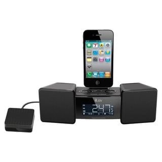 iLuv IMM155BLK Desktop Clock Radio - Stereo - Apple Dock Interface -