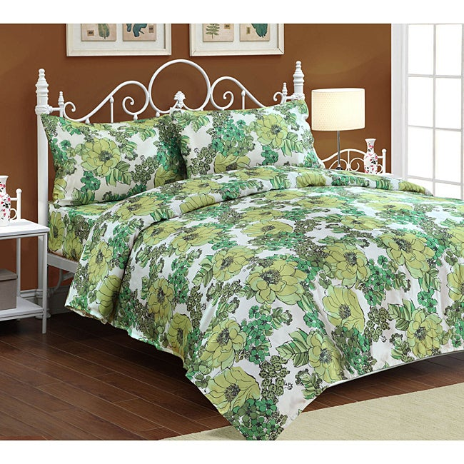 'Jardin' Satin Full-size Sheet Set