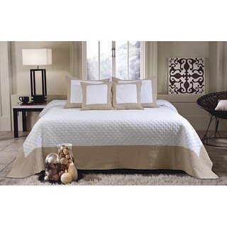 Brentwood Ivory / Taupe Quilted 3-piece Bedspread Set