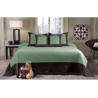 Brentwood Seafoam Blue / Brown Quilted 3-piece Bedspread Set