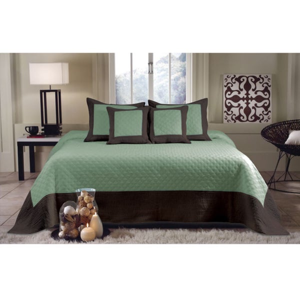 Greenland Home Fashions Brentwood Seafoam Blue / Brown Quilted 3-piece Bedspread Set