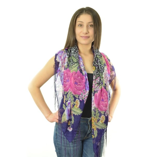 LA77 Women's Floral/ Animal Print Fringed Square Scarf