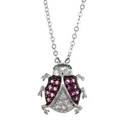 La Preciosa Sterling Silver Red, White and Green CZ Ladybug Necklace