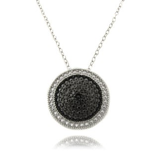 Finesque Sterling Silver Black Diamond Accent Round Necklace