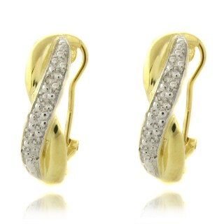 Finesque 14k Gold over Silver 1/4ct TDW Diamond 'X' Earrings (I-J, I2-I3)