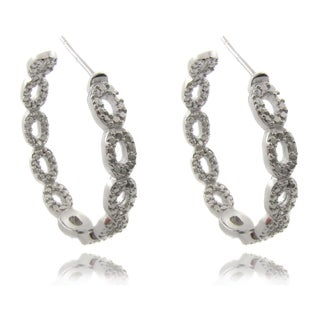 Finesque Sterling Silver 1/10ct TDW Diamond Teardrop Hoop Earrings (I-J, I2-I3)