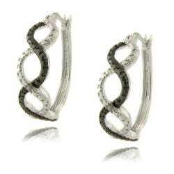 Finesque Sterling Silver Diamond Accent Black and White Infinity Hoop Earrings