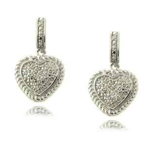 Finesque Sterling Silver Diamond Accent Heart Dangle Earrings