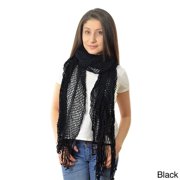 LA77 Women's Open Knit Fringed Scarf
