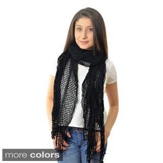 LA77 Women's Open Knit Fringed Scarf