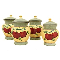 Casa Cortes Apple Collection 4-Piece Hand-Painted Canister Set