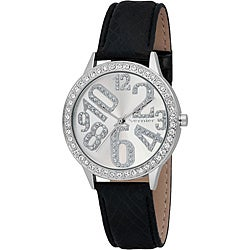 Vernier Woman's Silver Sparkle Fun Numeral Black Strap Watch
