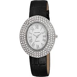 Vernier Women's Silver Oval Sparkle Crystal Black Strap Watch