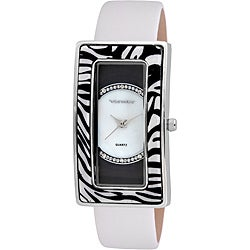 Vernier Woman's Rectangle Zebra Resin Bezel Watch