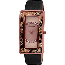 Vernier Women's Rectangler Animal Resin-Bezel Leather-Strap Watch