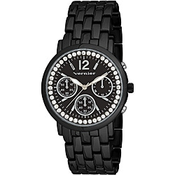 Vernier Women's 'V11004' Black Sparkle Chronograph Watch