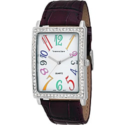 Vernier Women's 'V1031' Colorful Numerals Purple Watch