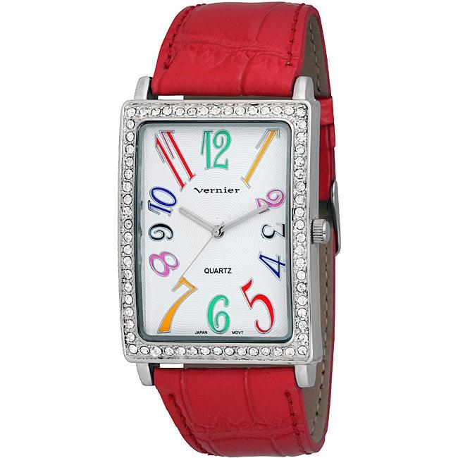 Vernier Women's 'V1033' Coral Red Multi-Colored Numerals Watch