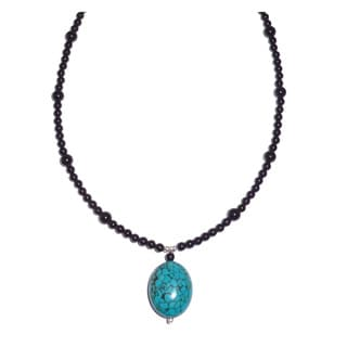 Turquoise Drop With Obsidian Beaded Necklace