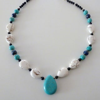 Sterling Silver Turquoise, Magnesite and Lapis Teardrop Necklace (USA)