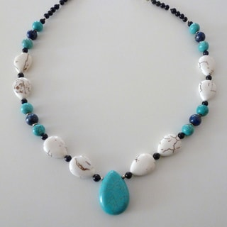 Every Morning Design Turquoise, Magnesite and Lapis Teardrop Necklace