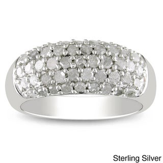 Haylee Jewels Sterling Silver or Black Rhodium 1ct TDW White Diamond  Ring