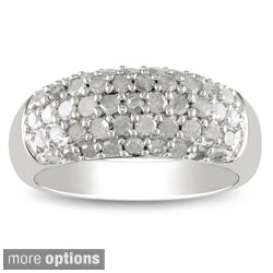 Miadora Sterling Silver or Black Rhodium 1ct TDW White Diamond Ring