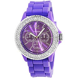 Vernier Women's 'V11040' Purple Sparkle Rotating Crystal Bezel Watch