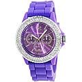 Vernier Women's 'V11040' Purple Sparkle Rotating Crystal Bezel Watch