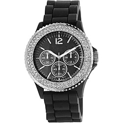 Vernier Women's 'V11041' Black Sparkle Chronograph Watch