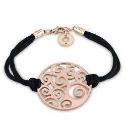 Miadora Pink-plated Stainless Steel and Black Cord Bracelet