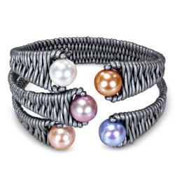 Multi-colored FW Pearl and Leather Cord Bracelet (9-10 mm)